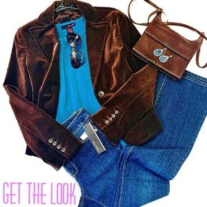 Teal Tank with Express Blazer & Dark Denim Jeans